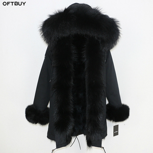 Image 2 - OFTBUY New Winter Jacket Women Parka Real Fur Coat Natural Raccoon Fur Collar Real Fox Fur Liner Thick Warm Outerwear Streetwear