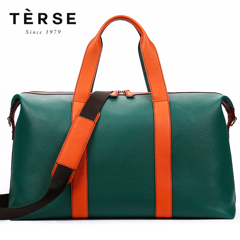 TERSE Men`s Handbags Genuine Leather Travel Totes Patchwork Large Capacity Zipper Bag Fashion For Traveling LN9355