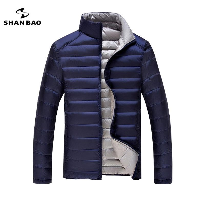 Большой размер М, чтобы 7XL свет тонкая пуховая куртка 2017 зимняя повседневная брендовая одежда Двусторонняя одежда мужская пуховая куртка