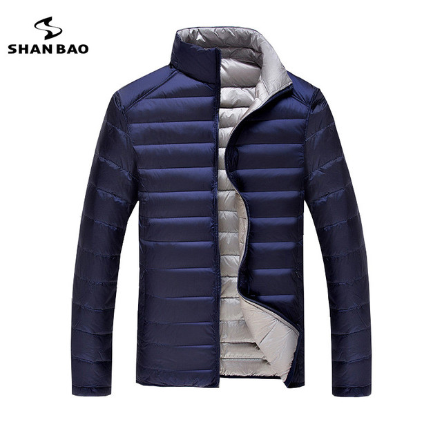 Two-sided can wear men's fashion casual thin section jacket jacket 2018 winter high quality 90% white duck down warm down jacket