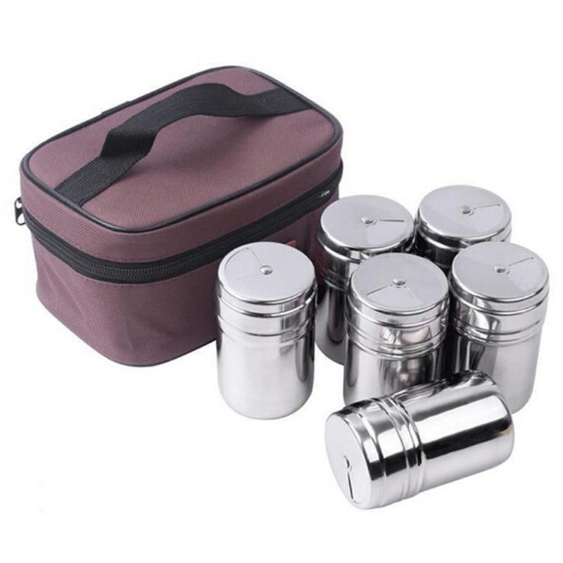 6Пцс / С Висећи Посуђе од Нехрђајућег Челика, Кутије за Зачињање Кутије за Кампинг Кухиња Вањско Кухање Роштиљ Посуђе