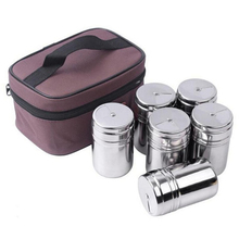 6Pcs/S Outdoor Tableware Stainless Steel Seasoning Cans Bottles for Camping Trip Kitchen Outdoor Cooking BBQ Cookware