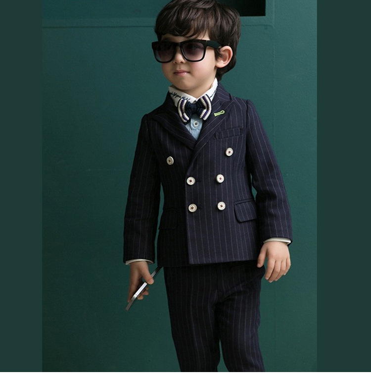 2 piece set boy new children double breasted suit blazer kids cool
