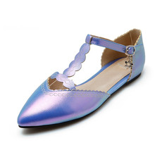 Big size 28-48 New 2016sweet style brand women's flats High qualtity ladies spring sandals pointed toe flat patent leather shoes