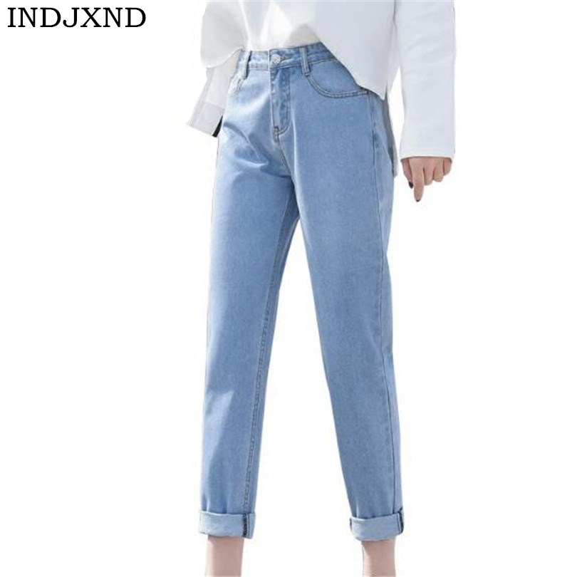 INDJXND Basic Denim   Jeans   Classic 4 Season Women High Waist   Jeans   Vintage Mom Style Pencil   Jeans   High Quality Cowboy Denim Pants