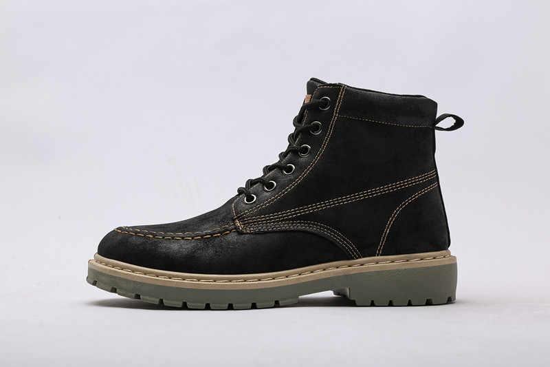 Качественные мужские ботинки из натуральной кожи; Ботинки martin; мотоциклетные ботинки; сезон осень-зима; зимние ботинки для влюбленных