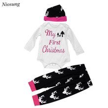 Niosung New Christmas Boys Outfit Clothes Print Romper Tops+Long Pants Trousers+Hat 1Set Bebe Birthday Christmas Costumes