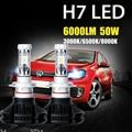 Oslamp 2 unids H7 LLEVÓ la Linterna Del Coche Bulbos DEL CREE Chips de CSP 50 W 6000LM 3000 K/6500 K/8000 K Luz del Coche Automático de Faros de Niebla 12 v 24 v