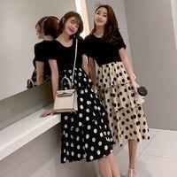 Womens Summer Dress 2019 Cute Polka Dot Short Sleeve Girlfriend Dress Korean Slim T shirt Stitching Fake Two Piece Long Dress
