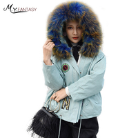 M.Y.FANSTY 2019 section of fur coat female down detachable liner With Raccon Dog Fox Fur Collar Print Pink Short PARKA Fur Coats