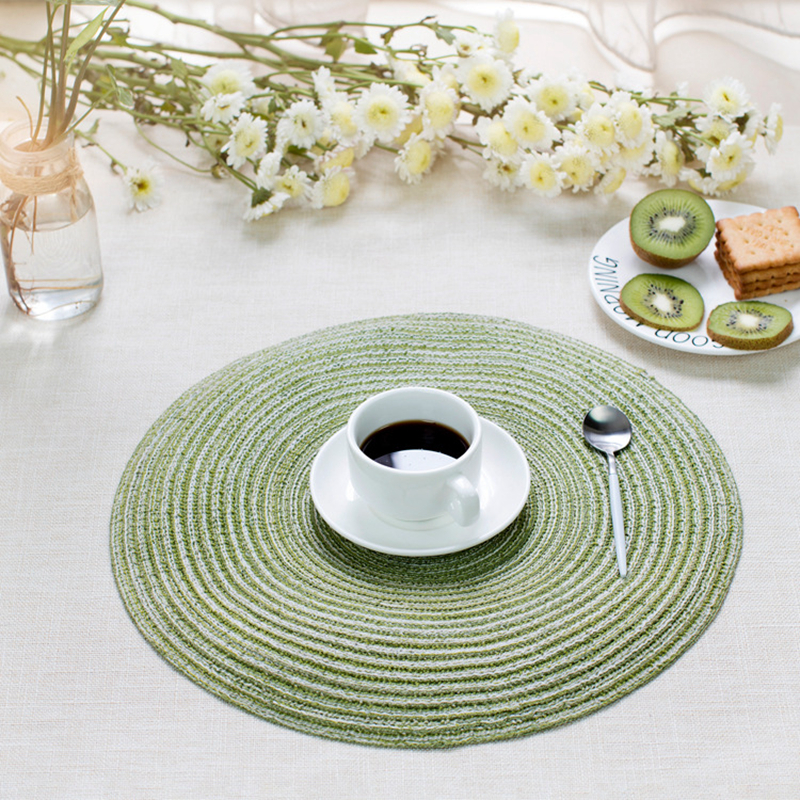 Round Table Placemats.Us 14 22 17 Off Pack Of 4pcs Cotton Braiding Table Placemats Round Table Mats Heat Insulated Pad Japanese Style Mats 35cm In Mats Pads From Home