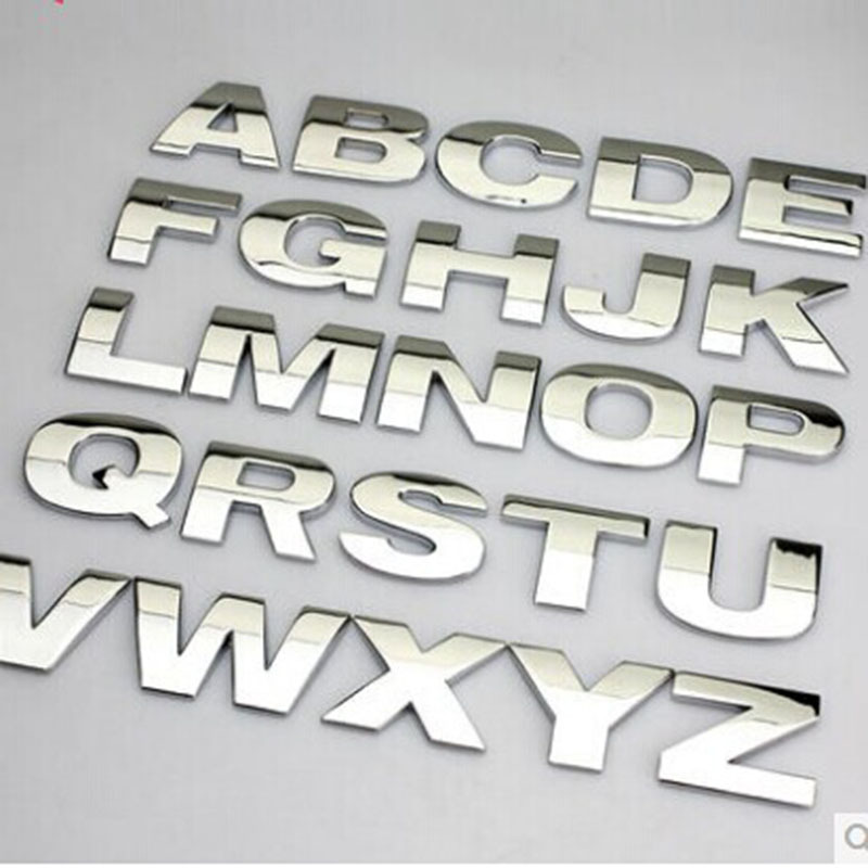 5pcs lot 3d metal english letter car stickers digital arabic number decals diy badge logo emblem for auto motorcycle suv atv in car stickers from