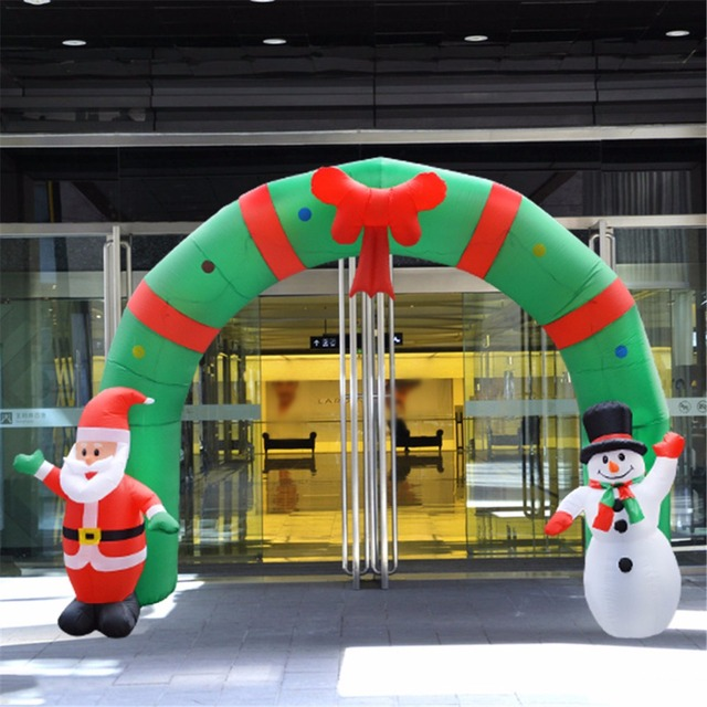 250cm huge inflatable christmas arch archwaysanta snowman for indoor house garden outdoor shop decoration with eu - Huge Inflatable Christmas Decorations