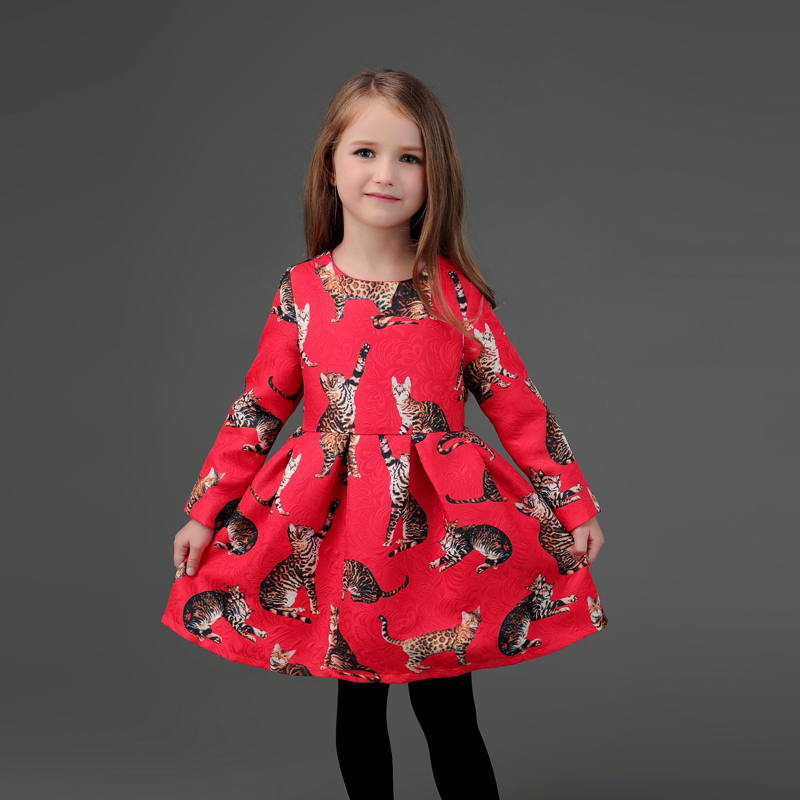 Winter mother and daughter dress family matching clothes cat print warm thick flannel lining mom infant girls party formal dress cat print hooded dress