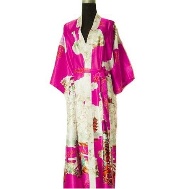 Бесплатная Доставка Hot Pink Ladies 'Шелковый Район Одеяние Кимоно Ванна Платье Ночная Рубашка Размер Sml XL XXL XXXL W2S0010