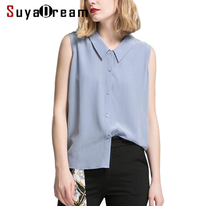 여성 실크 셔츠 100% 리얼 실크 민소매 솔리드 버튼 t 셔츠 2019 summer new top office 레이디 셔츠 슬레이트 블루-에서티셔츠부터 여성 의류 의  그룹 1