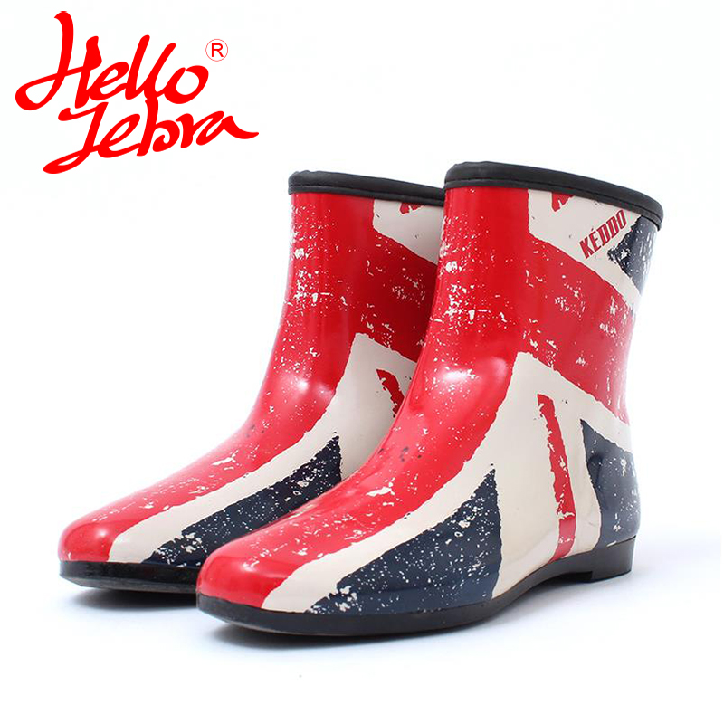 Hellozebra Women Rain Boots Waterproof Fashion Rubber Elastic Band Solid Color Raining day Shoes Low Heel 2017 Autumn New hellozebra women rain boots waterproof fashion rubber elastic band solid color raining day shoes low heel 2017 autumn new
