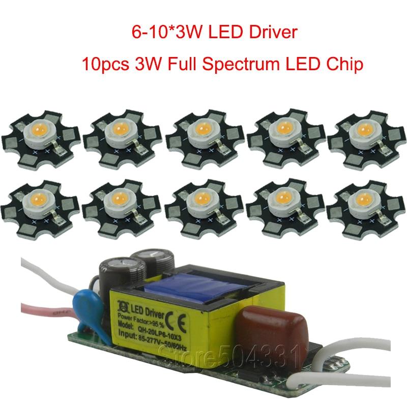 10 개 3 와트 전체 스펙트럼 성장 빛 380-840nm 1 개 6-10x3w led 드라이버 diy 30w 50w 100w 주도 수족관 빛 식물 램프