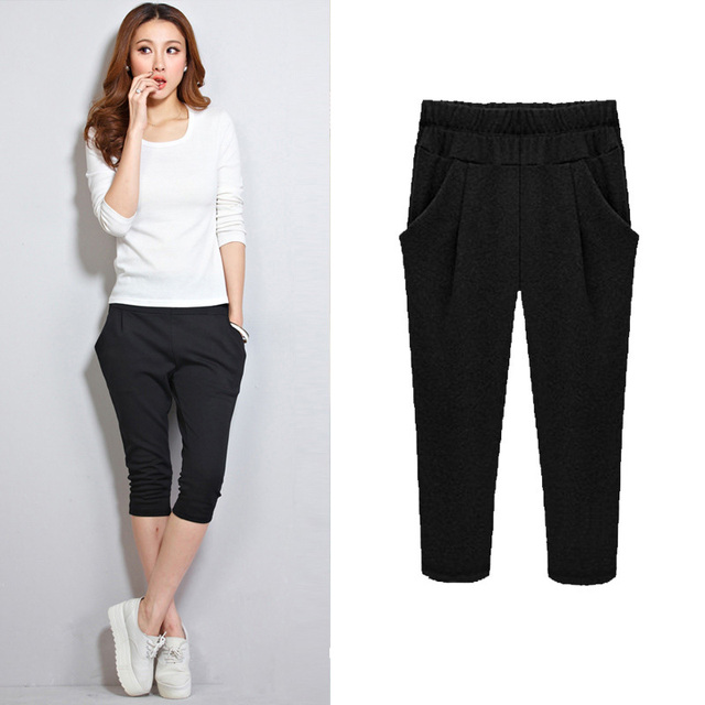 New Cotton Large Size Over Knee Summer Pants For Female Women's Short Casual  Plus Size Pants Trousers Leggings