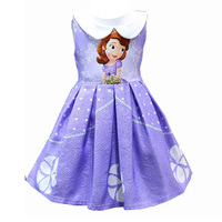 Flower Girl Dress Baby Girl Birthday Party And Wedding Cartoon Printing Dresses for children princess clothing 2T 3T 4T 5T 6T