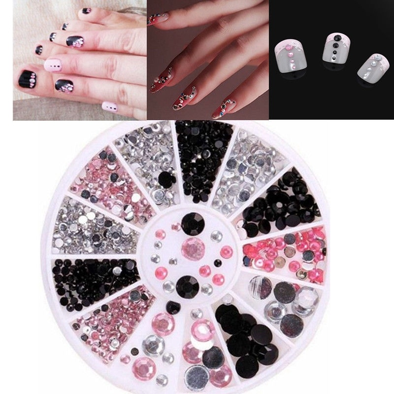 1 Box Nail acrylic Three-color Shiny Black Pink Diamond Mixed Box 2/3/4/5cm Small Nail Art  For UV Gel Decoration Ornament Kit форма для нарезки арбуза