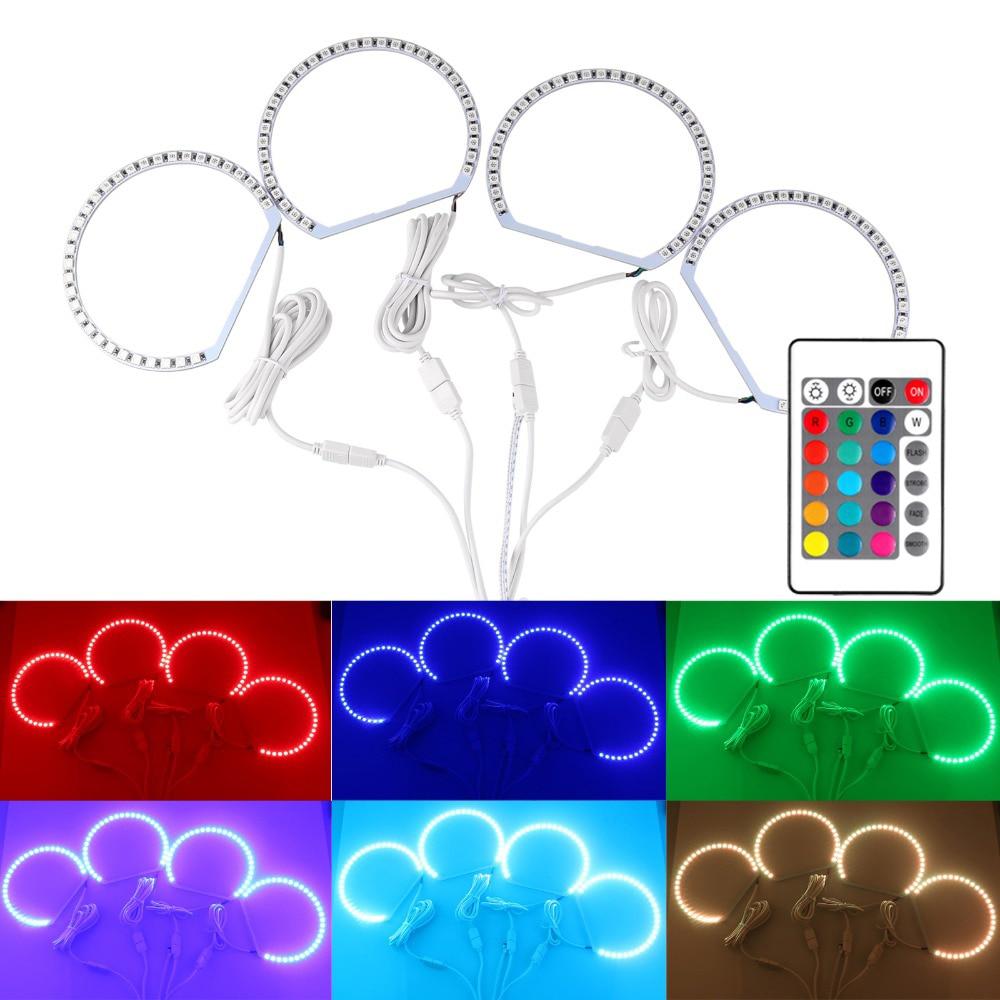 Online eye color changer - 4pcs Lot 131mm Multi Color Rgb Smd 5050 Flash Led Angel Eyes Light Kit