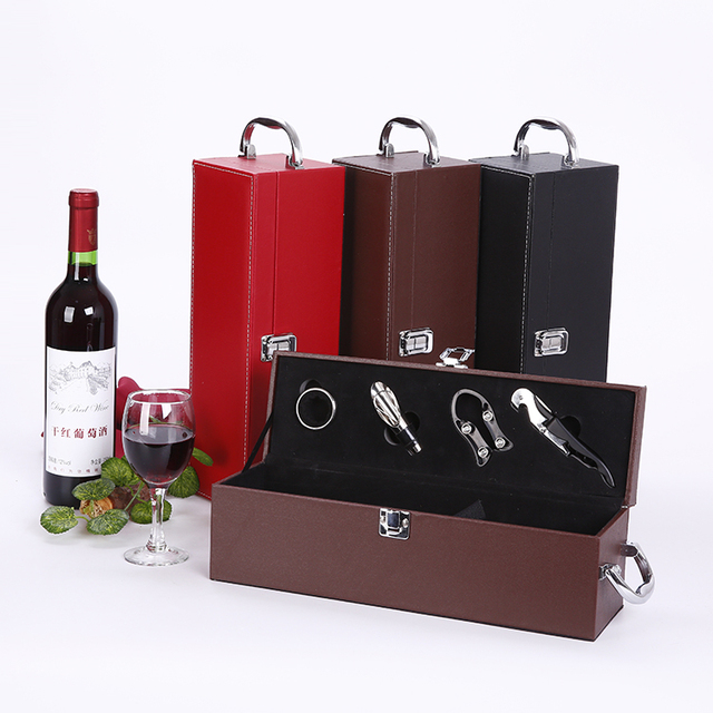Us 16 58 Pu Leather Wine Single Box Wine Box Set Wine Gift Box With Accessories Bottle Opener Set In Bar Sets From Home Garden On Aliexpress Com