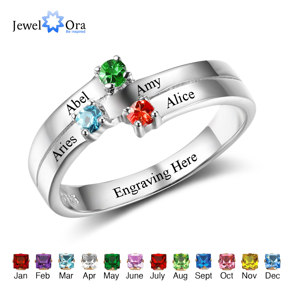 Family Ring Personalized Jewelry Engrave Name Custom Birthstone 925 Sterling Silver Ring Commemoration Gift (JewelOra RI102506) tree of life ring rose gold color birthstone ring sterling silver family tree ring custom mother s ring