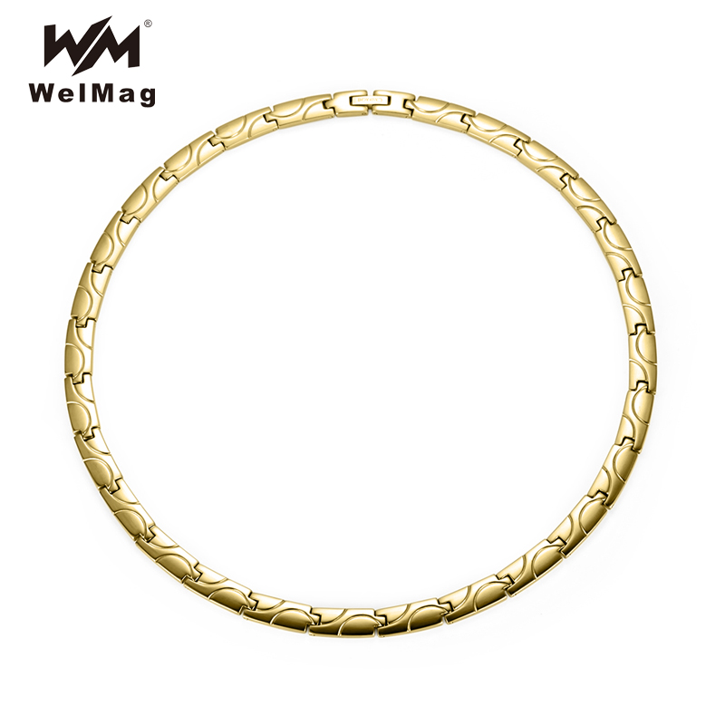 WelMag 2019 Trendy Energy Therapy Magnetic Necklaces Healing Gold color Titanium Necklaces Link Chain For Women for Men