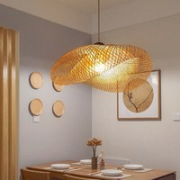 Knitting lamp Wicker Rattan Wave Shade Pendant lamp Vintage Japanese Lamp indoor house decor lustre suspension lamp bamboo