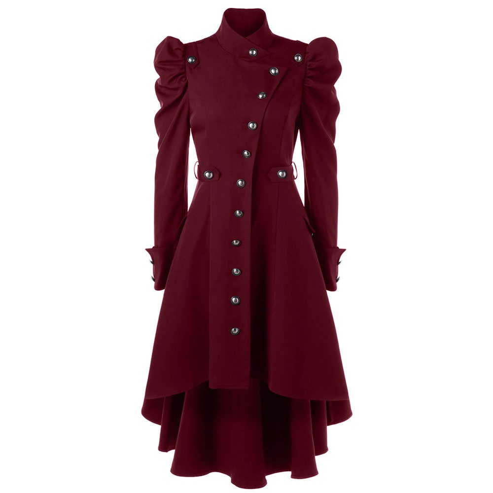 victorian Women Autumn long   trench   coat Winter Black Red wine Windbreaker Classic Dark Button Swallowtail Cotton Outerwear 2018
