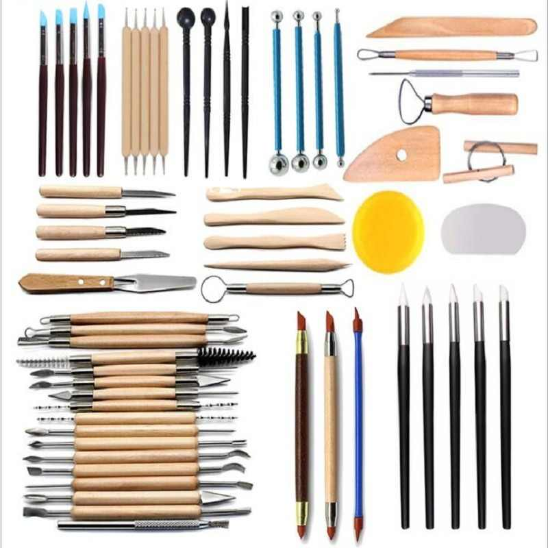 Arts Crafts Clay Sculpting Tools Pottery Carving Tool Set Pottery & Ceramics Wooden Handle Modeling Clay Tools