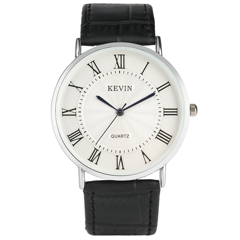 KEVIN Roman Number Clock Quartz Wrist Ladies Watch Women Simple Style Casual Leather Band Black/White/Red Female Watches