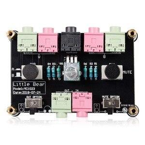 Image 5 - דוב קטן MC1023 מיני 2 דרך אודיו מיקרופון אוזניות רמקול מיקרופון Switcher רכזת נפח שליטה בורר עבור מחשב PS4 xbox