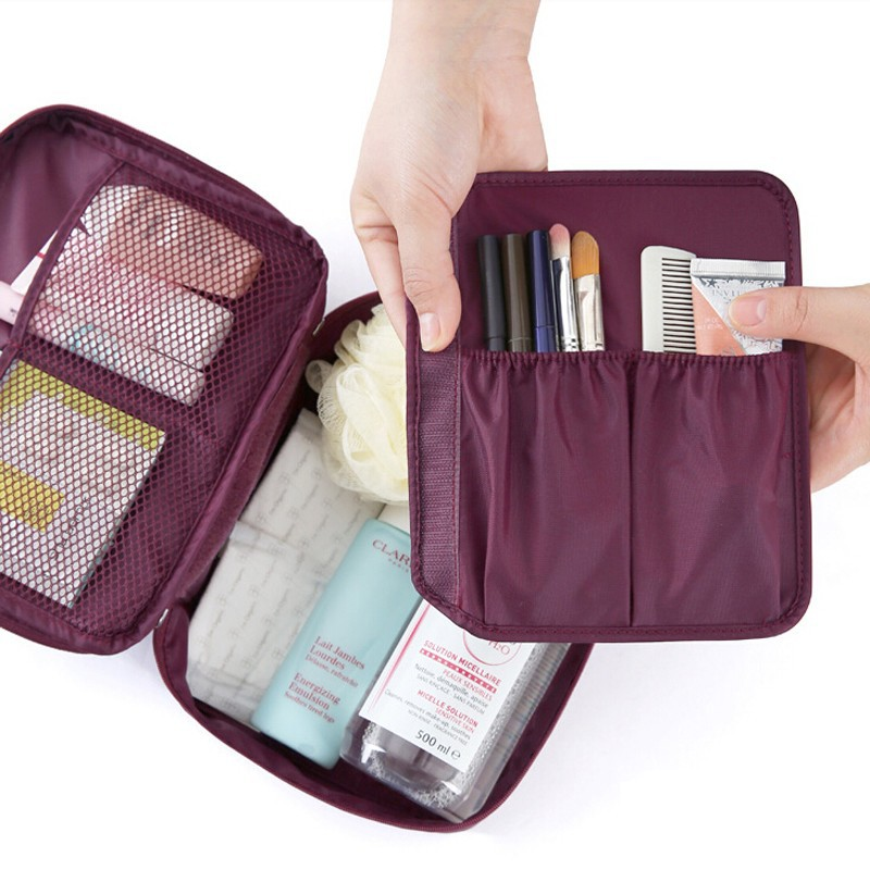 Minch Travel Cosmetic Bag Make Up Organizers Nylon Zipper Waterproof Toiletry Bag kits Foldable Storage Organizer
