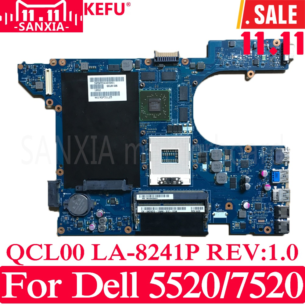 KEFU QCL00 LA-8241P Laptop motherboard for Dell 5520 7520 Test original mainboard with Video card cn 06d5dg 06d5dg 6d5dg laptop motherboard for dell inspiron n5520 15r 5520 qcl00 la 8241p ddr3 hd7670m 1gb video card mainboard