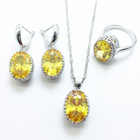 Oval Gold Yellow Sapphire Jewelry Sets For Women 925 Silver Necklace Pendant Earrings Rings Size 6