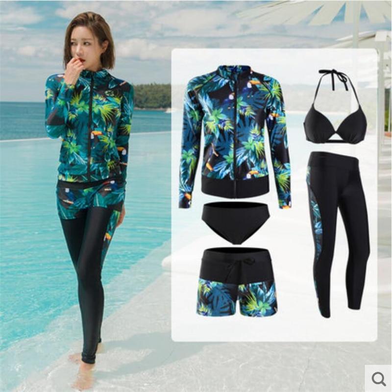 Korean Style 5 Pieces Surf Swimsuit For Women 2019 UV Protection Swimwear Bikini+zip Shirt+pants+shorts Ladies Snorkeling  Suit