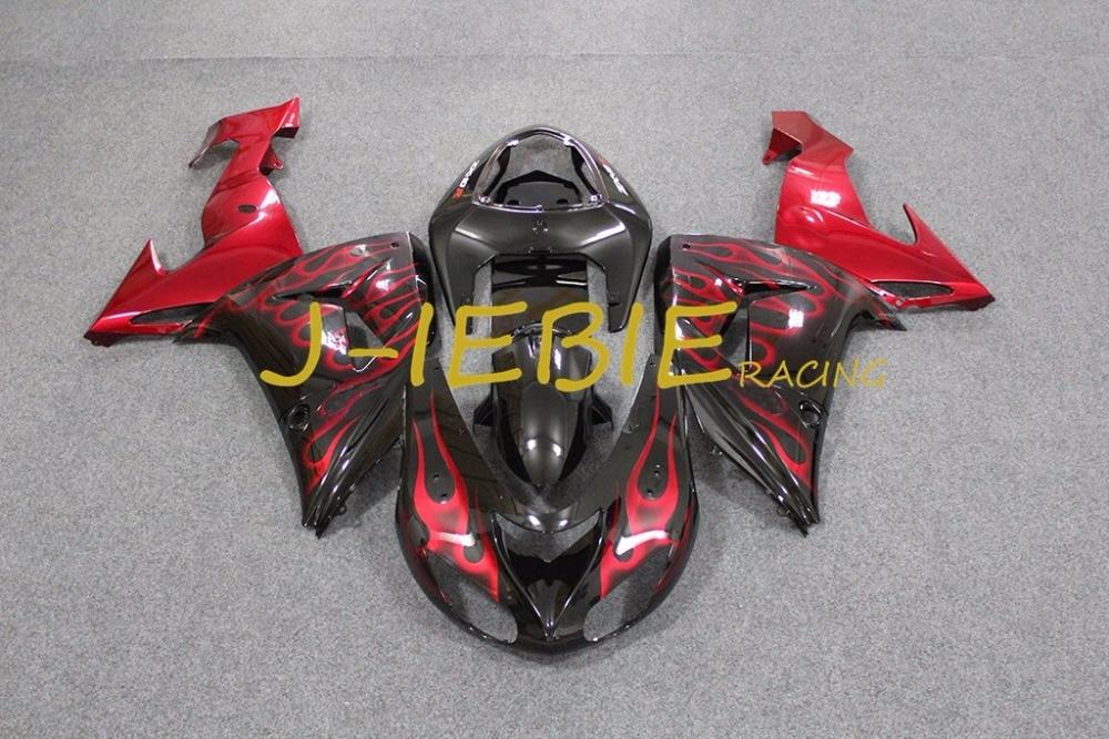 Black red fire Injection Fairing Body Work Frame Kit for Kawasaki NINJA ZX10R ZX10 ZX 10 R 2006 2007