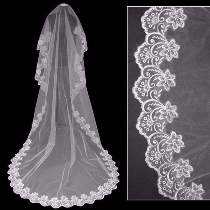 2019 Cathedra Lace Bridal Veil With Comb 3*1.5 Meter Long Bride Wedding Edge 1 Layer  Accessories