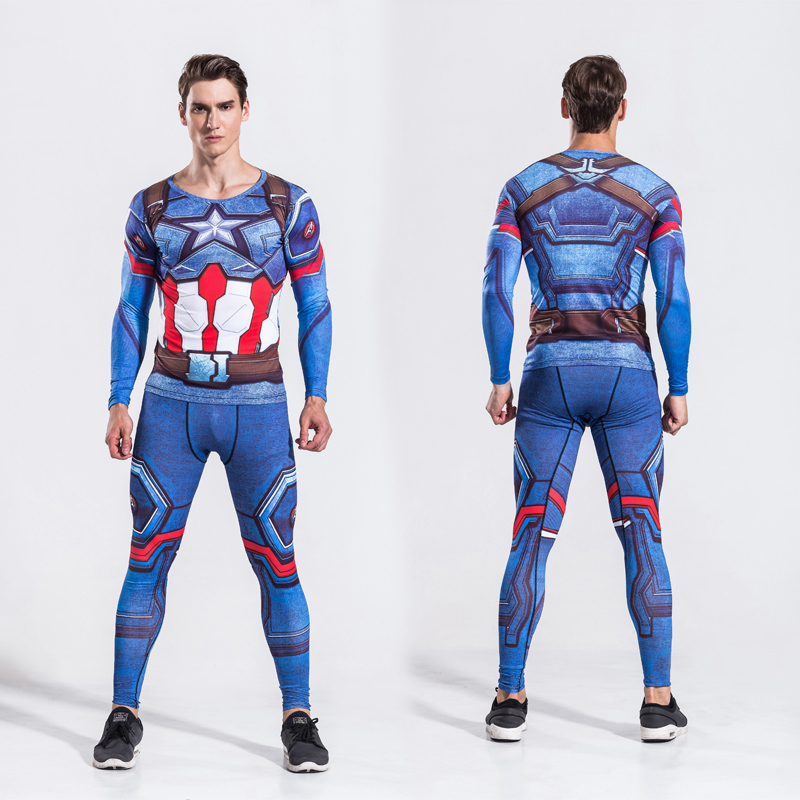 Mens Avenger Captain America Two Piece Set Cosplay Suits Male Crossfit T Shirt Fitness Legging Outfit Pant Compression Tracksuit