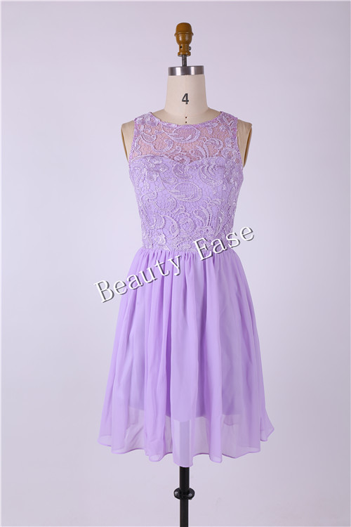 2017 New Arrival Lavender Short Bridesmaid Dress Knee Length A Line Chiffon Ruffles Lace Purple Theme Wedding Party In Dresses From