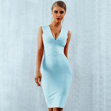 Newest Summer Celebrity Evening Party Bodycon Bandage Dress Women Sleeveless V-Neck Sexy Night Out Club Vestidos