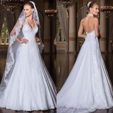 Vestido de noiva renda Halter Lace Wedding Dress Detachable Train vestido casamento 2015 robe mariage
