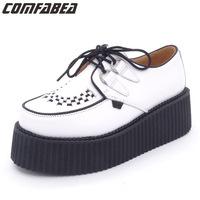 Famous Brand Creepers Platform Women S Genuine Leather Flats Shoes For Women Spring Summer Autumn Creeper