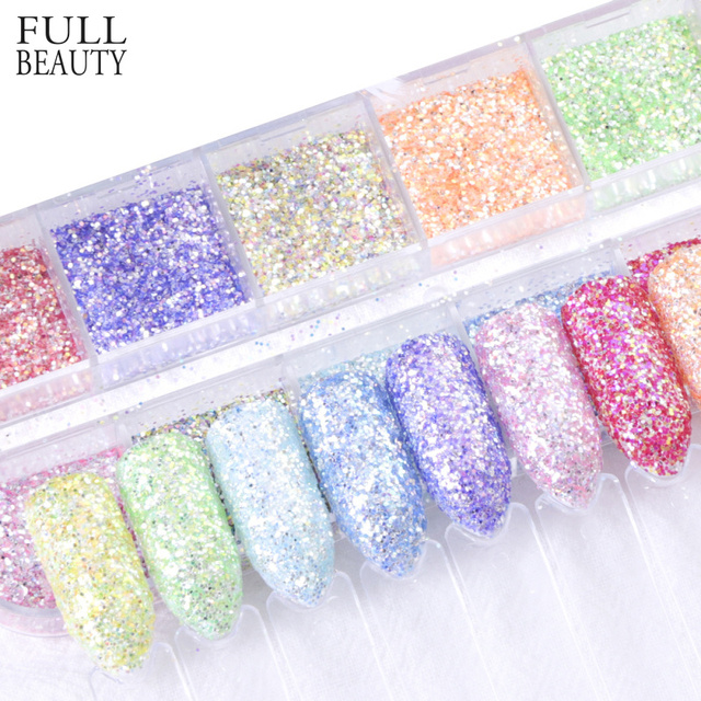 Full Beauty Mixed 12 Color Mermaid Dust Nail Sequins Glitter Thin Flakes Decorations Sets for Nail Art Powder CHHH