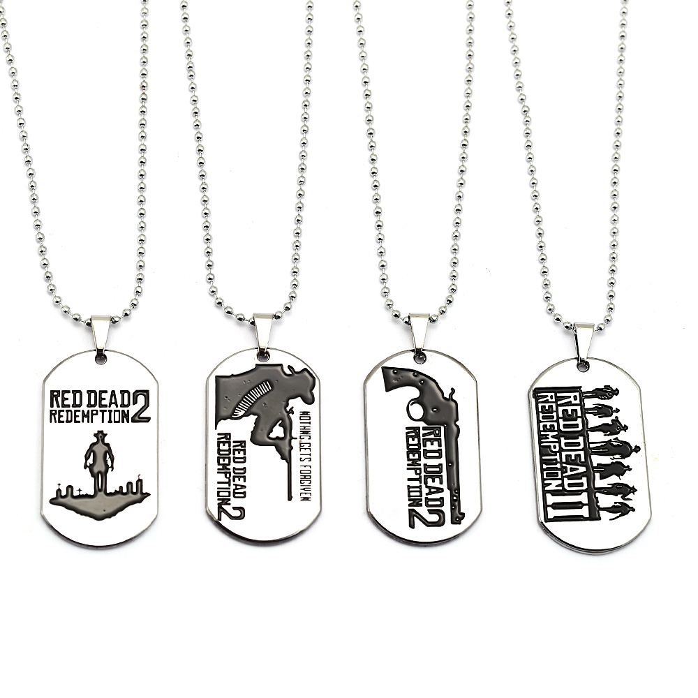 Red Dead Redemption 2 Bead Chain Necklace Pendants Dog Tag Metal Game Design Keychain Keyring Men Women
