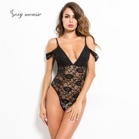 Sexy mousse lace corset body shaping body slim perspective casual home features short sleeved women's jumpsuit underwear