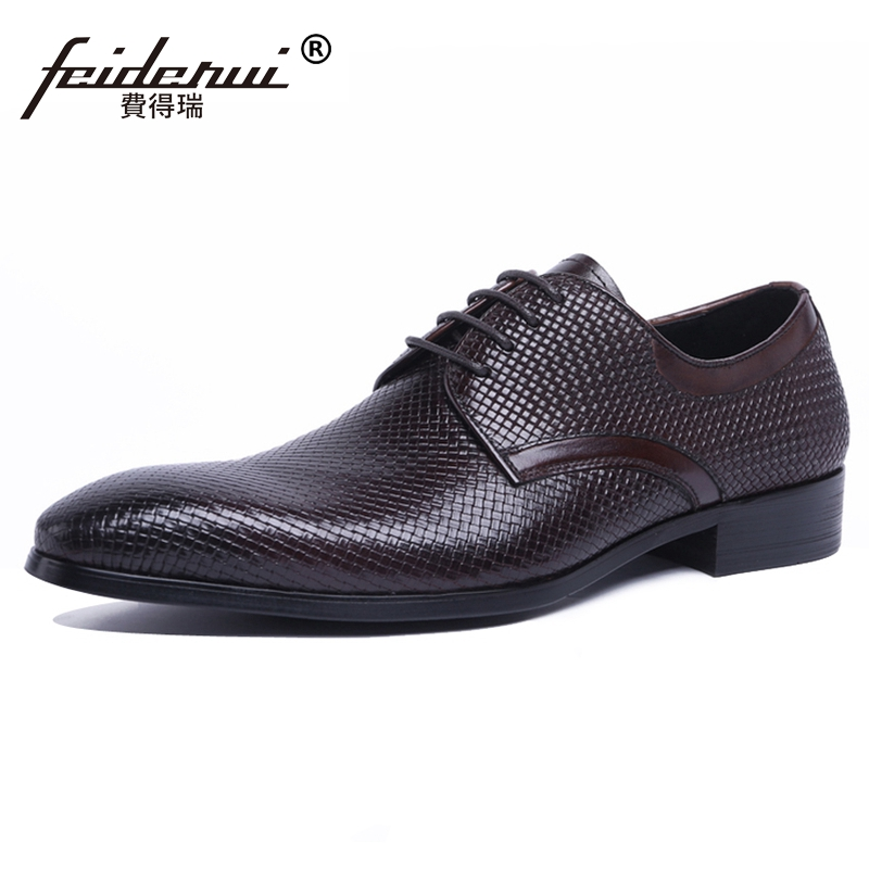 2018 New Arrival Luxury Man Derby Formal Dress Shoes Genuine Leather Pointed Toe Lace up Handmade Men's Designer Footwear JS131 hot sale mens genuine leather cow lace up male formal shoes dress shoes pointed toe footwear multi color plus size 37 44 yellow