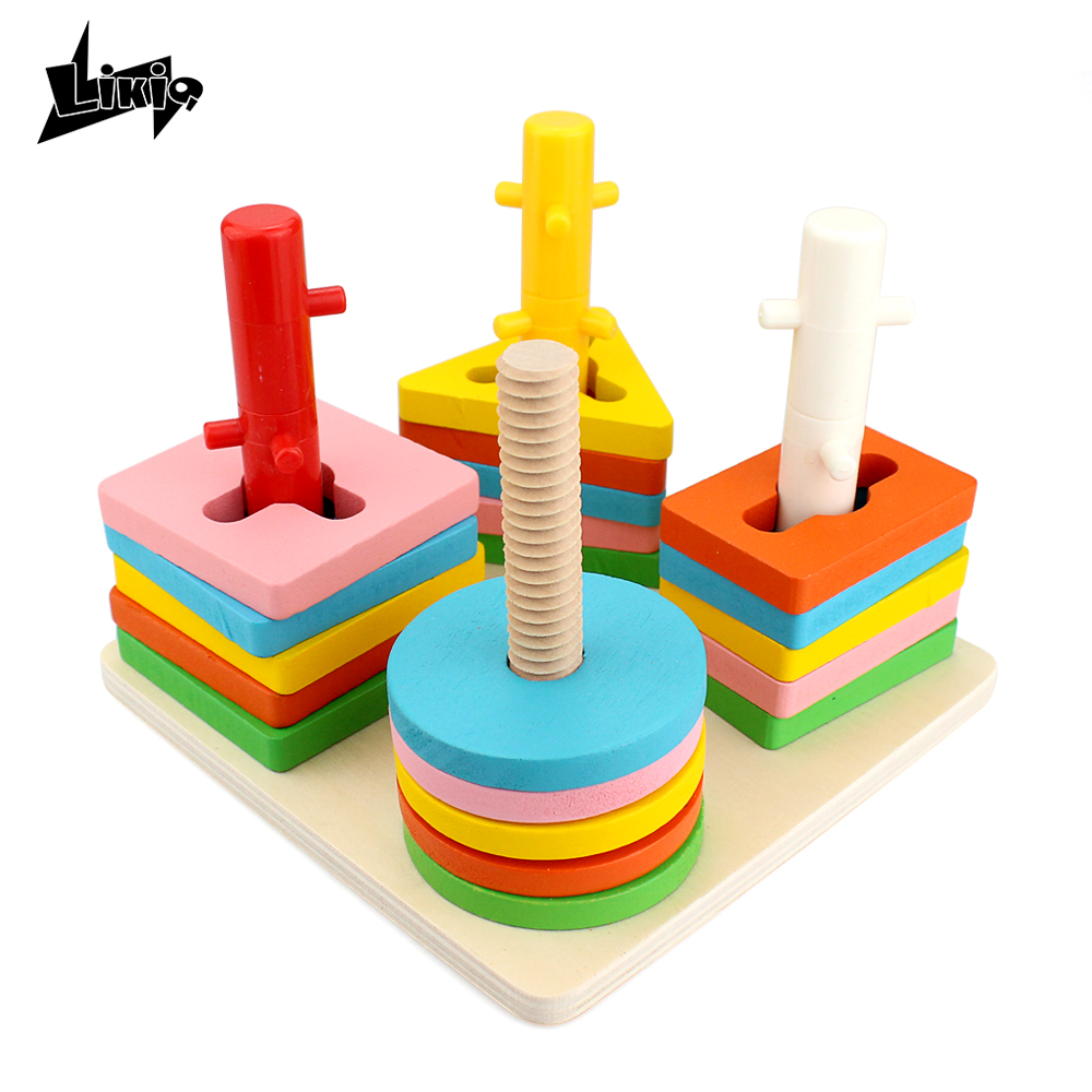 Likiq Montessori Wooden 4 Pillars Geometric Shapes Matching Colorful Wisdom Building Blocks Educational Toys Gift for children baby toys montessori wooden geometric sorting board blocks kids educational toys building blocks child gift